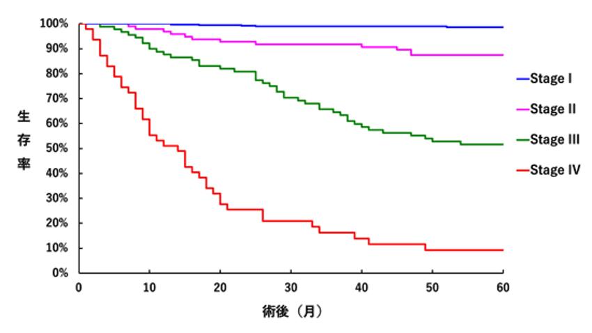 図2:2010年から2014年に当院にて胃癌手術(非切除手術は除く)を施行された患者さんの術後追跡調査結果